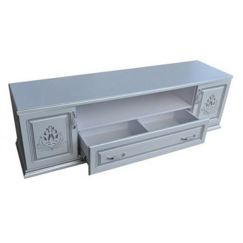 Купить Тумба ТВ Анабель 1800х470х530h белая матовая, патина серебро