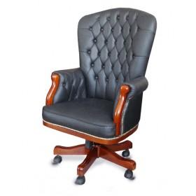 Кресло руководителя Честерфилд кожа, черное