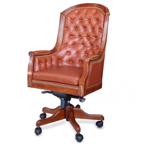 Купить Кресло руководителя Джермано кожа, коричневое виски