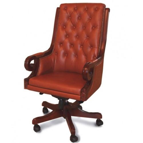 Купить Кресло руководителя Роял кожа, коричневый виски