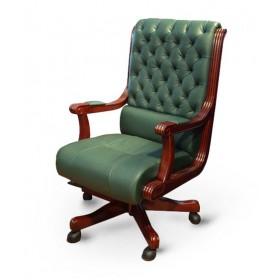 Кресло руководителя Сорренто кожа, зеленое