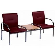 Кресло STAFF-2 T chrome двухместное со столиком