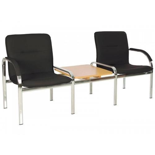 Купить Кресло STAFF-2 T chrome S двухместное со столиком с мягкими подлокотниками