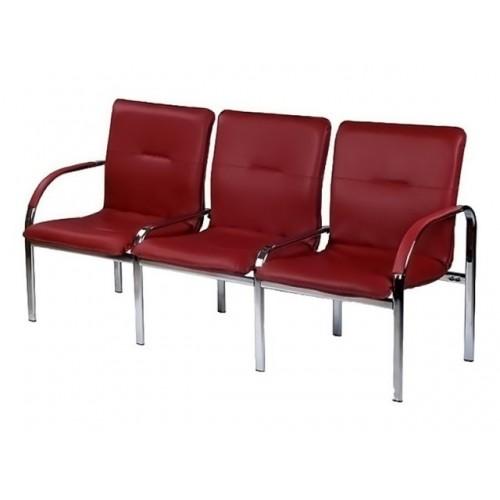 Купить Кресло STAFF-3 chrome S трехместное с мягкими подлокотниками