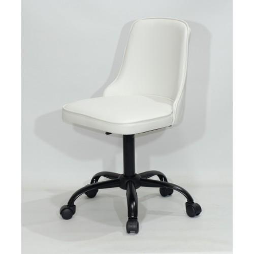 Купить Кресло офисное ADAM (Адам) черная база, белый кожзам