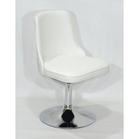 Кресло Adam (Адам) белый кожзам на блине