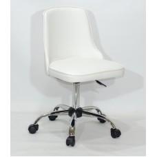 Кресло офисное ADAM (Адам) хромированная база, белый кожзам