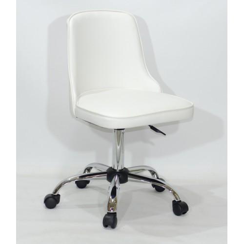 Купить Кресло офисное ADAM (Адам) хромированная база, белый кожзам