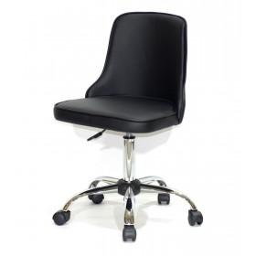 Кресло офисное ADAM (Адам) хромированная база, черный кожзам