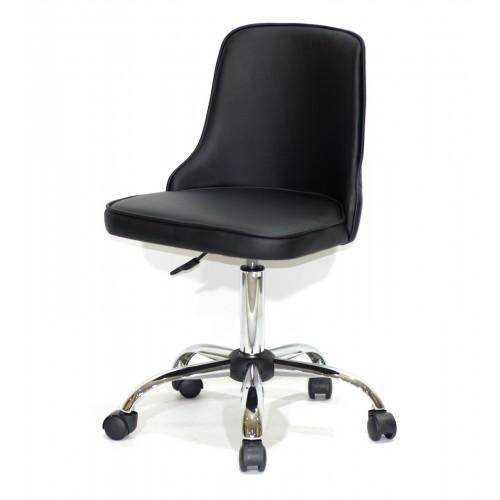 Купить Кресло офисное ADAM (Адам) хромированная база, черный кожзам