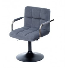 Кресло ARNO ARM (АРНО АРМ) BK BASE серый бархат на черном блине
