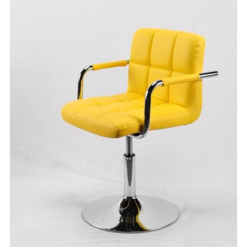 Купить Кресло ARNO ARM (АРНО АРМ) BK BASE экокожа на хромированном блине, желтое