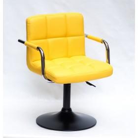 Кресло ARNO ARM (АРНО АРМ) BK BASE  экокожа на черном блине, желтое