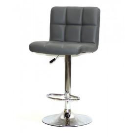 Кресло барное ARNO (Арно) хромированная база, серый кожзам