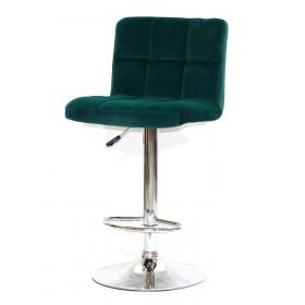 Кресло барное ARNO (Арно) хромированная база, зеленый бархат
