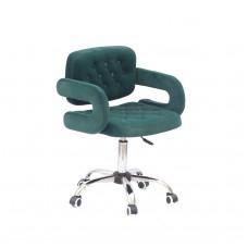 Кресло GOR (Гор) Office на хромированной крестовине, бархат зеленый (B-1003)