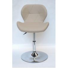 Кресло барное Invar (Инвар) хромированная база, кожзам бежевый (06)