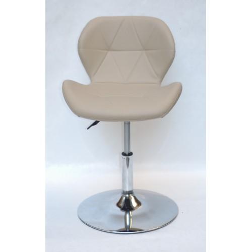 Купить Кресло барное Invar (Инвар) хромированная база, кожзам бежевый (06)