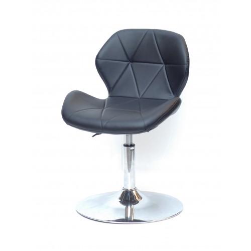 Купить Кресло барное Invar (Инвар) хромированная база, кожзам черный (04)
