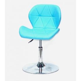 Кресло барное Invar (Инвар) хромированная база, кожзам голубой (52)