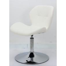 Кресло барное Invar (Инвар) хромированная база, кожзам белый (07)