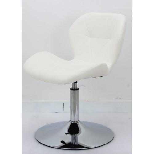 Купить Кресло барное Invar (Инвар) хромированная база, кожзам белый (07)