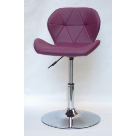 Кресло барное Invar (Инвар) хромированная база, кожзам пурпурный (62)
