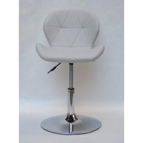 Кресло барное Invar (Инвар) хромированная база, кожзам серый (10)