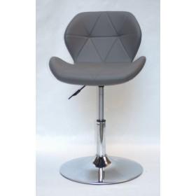 Кресло барное Invar (Инвар) хромированная база, кожзам серый (21)