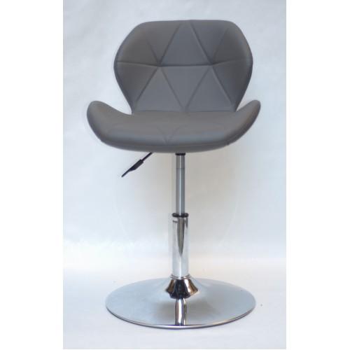 Купить Кресло барное Invar (Инвар) хромированная база, кожзам серый (21)