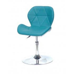 Кресло барное Invar (Инвар) хромированная база, кожзам зеленый (02)