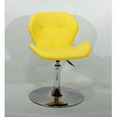 Кресло барное Invar (Инвар) хромированная база, кожзам желтый (12)