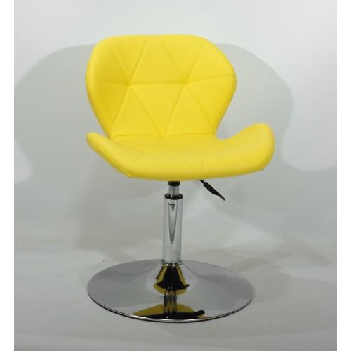 Купить Кресло барное Invar (Инвар) хромированная база, кожзам желтый (12)