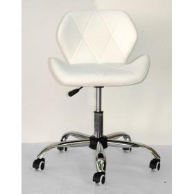 Кресло офисное Invar (Инвар) хромированная база, экокожа, белый (07)