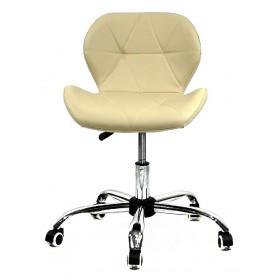 Кресло офисное Invar (Инвар) хромированная база, экокожа, бежевый (06)