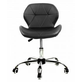Кресло офисное Invar (Инвар) хромированная база, экокожа, черный
