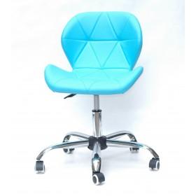 Кресло офисное Invar (Инвар) хромированная база, экокожа, голубой (52)