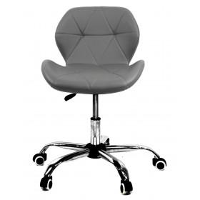 Кресло офисное Invar (Инвар) хромированная база, экокожа, серый (21)