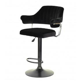Кресло JEFF (Джеф) BAR BASE барное на черном блине, черный бархат (B-1011)