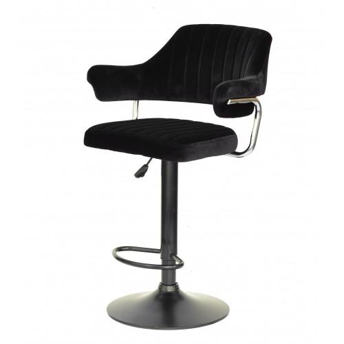 Купить Кресло JEFF (Джеф) BAR BASE барное на черном блине, черный бархат (B-1011)
