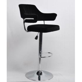 Кресло JEFF (Джеф) BAR BASE барное на хромированном блине, черный бархат (B-1011)