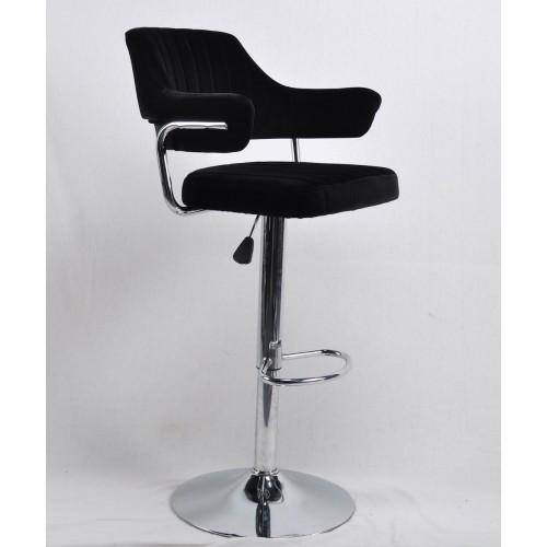 Купить Кресло JEFF (Джеф) BAR BASE барное на хромированном блине, черный бархат (B-1011)