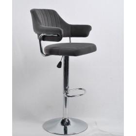 Кресло JEFF (Джеф) BAR BASE барное на хромированном блине, серый бархат (B-1004)