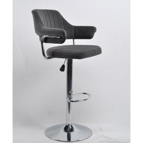 Купить Кресло JEFF (Джеф) BAR BASE барное на хромированном блине, серый бархат (B-1004)