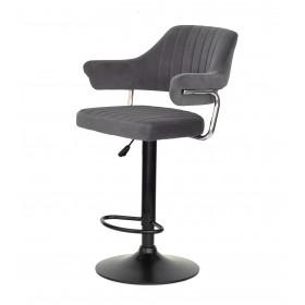 Кресло JEFF (Джеф) BAR BASE барное на черном блине, серый бархат (B-1004)