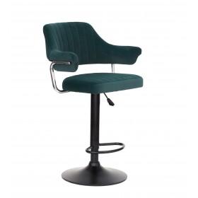 Кресло JEFF (Джеф) BAR BASE барное на черном блине, зеленый бархат (B-1003)