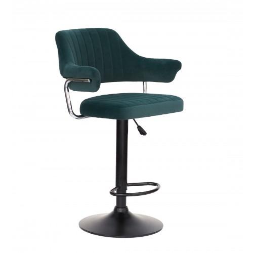 Купить Кресло JEFF (Джеф) BAR BASE барное на черном блине, зеленый бархат (B-1003)