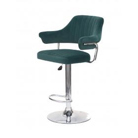Кресло JEFF (Джеф) BAR BASE барное на хромированном блине, зеленый бархат (B-1003)