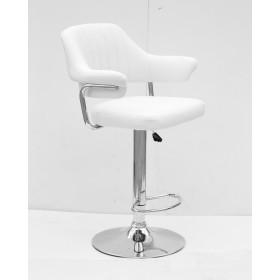 Кресло JEFF (Джеф) BAR BASE барное на хромированном блине, экокожа белая