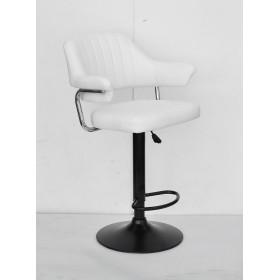 Кресло JEFF (Джеф) BAR BASE барное на черном блине, экокожа белая